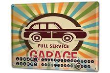 Perpetual Calendar Vintage Car  Workshop full service Tin Metal Magnetic