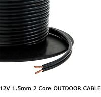 1.5mm 2 Core Black Cable Flat Flex Electrical Indoor Outdoor Garden Lighting 10m