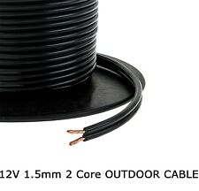1.5mm 2 Core Black Cable Flat Flex Electrical Indoor Outdoor Garden Lighting 10m
