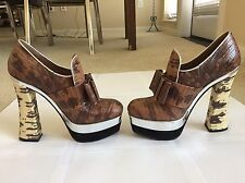 MIU MIU Brown Silver Snakeskin Leather Platform Heels Size 36 5.5 Orig. $695
