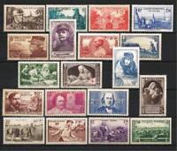 France année complète 1940 Yvert n° 451 à 469 neuf ** luxe 1er choix