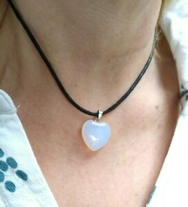 Gemstone Heart Pendant Valentines Necklace Gift Present with Card and Box