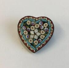 Vintage Brass Heart Shaped Floral Micro Mosaic Brooch 2.1cm Diameter