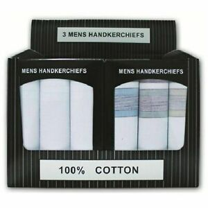 New Gents Men's 3 Pack Large 100% Cotton Handkerchiefs Hankies in Gift Box