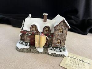 Hawthorne Village, Thomas Kinkade Christmas, Firehouse w/COA - New (Rare)