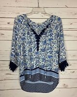 Daniel Rainn Stitch Fix Women's S Small Blue Lace 3/4 Sleeves Spring Top Blouse