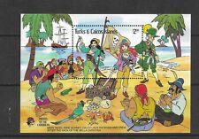 HICK GIRL- MINT TURKS & CAICOS ISLANDS SOUVENIR SHEET    DISNEY  PIRATES    A1