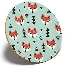 1 x Cute Cartoon Foxes Pattern - Round Coaster Kitchen Student Kids Gift #3744