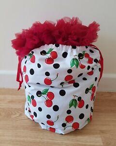 Large Petticoat Storage Bag Cherry Polka Dot Print - Drawstring Rockabilly Gift