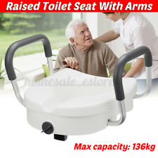 Removable Raised Toilet Seat With Arms Handles Padded Disability Aid Elderly