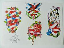 vintage hand coloured tattoo flash design sheet roy proudlove NOT MACHINE