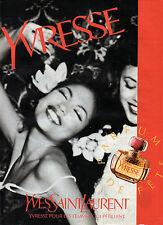 Publicité  Advertising 1992  Parfum  YVRESSE de YVES SAINT LAURENT
