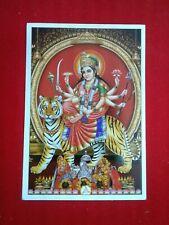 GODESS  DURGA  3.75X5.5 inches hindu indian religious poster.usa seller