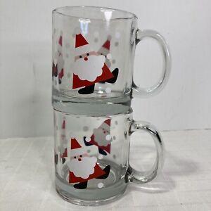 Anchor Hocking Crate & Barrel Dancing Santa Christmas Mugs USA Set of 2