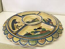 Handpainted 1940s Tlaquepaque Mexican Pottery Tray Divided Dish Dip Set Folk Art