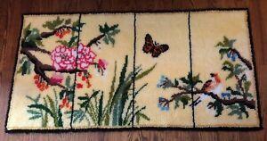 "Vintage Hooked Shag Rug Botanical Floral Butterfly Bird 30""X 58"""