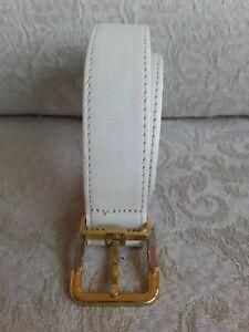 Oleg Cassini Sz 30 Lyntone Vtg Ivory Leather Belt Glazed Cowhide Silver & Brass