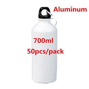 50PCS/ PACK 700ml Blank Aluminum Sports Bottle for Sublimation Printing, White