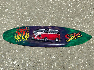 """24"""" VW BUS AIR BRUSHED CARVED WOOD SIGN WALL ART TROPICAL PATIO TIKI DECOR"""