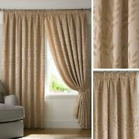 Beige Lined Curtains Jacquard Leaf Tape Top Readymade Pencil Pleat Curtain Pairs