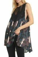 Free People Count Me In Trapeze Tank Tunic Top S Lace Yoke Floral Black NWT B79