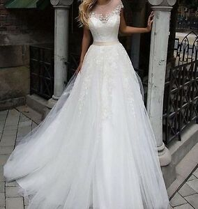 2017 Summer Lace Applique Tulle wedding dress, UK tailor made, all sizes