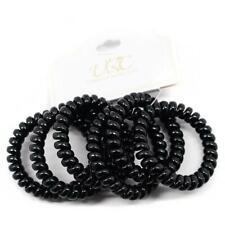 Spiral Telephone Cord Hair Ties - Black (6 Pcs)
