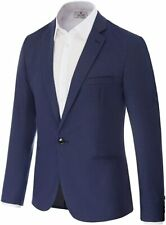 PAUL JONES Men's Slim Fit One Button Blazer Suit Jacket, Blue, Large