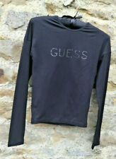 GUESS - MADE IN ITALY - FINE STRETCH TOP - GLITTER ' GUESS'  LOGO - SIZE 8 / 10