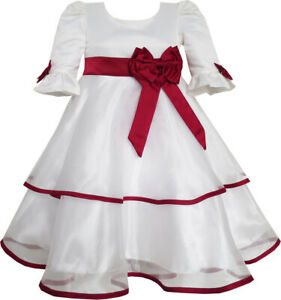 Girls Dress Red Rose Bow Tie Lace Formal Party Long Sleeve Size 4-12 Pageant