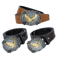 Men's Casual Leather Flying Eagle American Cowboy Metal Belt Buckle
