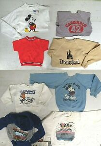 8 Kids Vintage Sweatshirt LOT Youth Mickey Mouse Disney Huckleberry Hound NWT