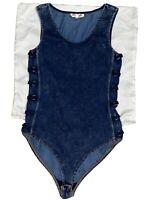 Marilyn Monroe Medium Blue Denim Side Detail Women's Snap Bodysuit