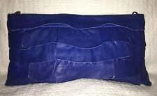 BCBGMAXAZRIA Blue Pieced Leather Ruffle Clutch Purse Bag Shoulder Bag-NWOT