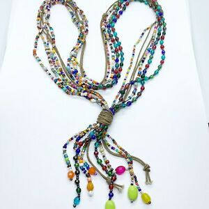 Colorful Beaded Boho Multi Strand Necklace Art Glass Beads Multi Colored Tassel