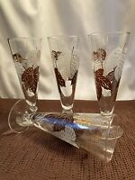 Beautiful set of 4 Beer Philsner Glasses in Brown, White and Gold