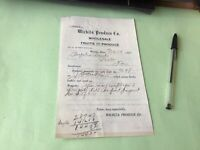 Kansas Wichita Wholsale Fruits and Produce  Company 1900  Receipt 52418
