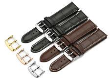 12mm-24mm cocodrilo de grano genuino cuero reloj banda Acolchado de piel de becerro Correa Hebilla 20