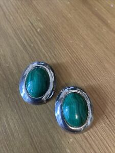 Silver And Malachite Clip On Earrings