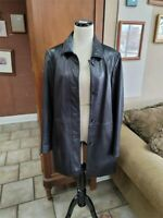 Men's Black Soft Lambskin Leather Button Up Jacket Size M Medium Preston & York