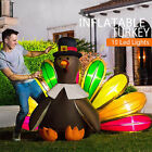 5X7ft High Inflatable Turkey LED Lighted Airblown Thanksgiving Outdoor Yard Deco
