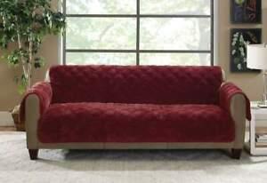 sure fit Plush Comfort Sofa Furniture Covers WINE STOCK #2