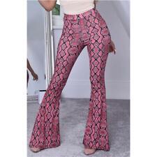 Damen Schlaghose in Boho-Stil mit Schlangenprint Pink #H1874