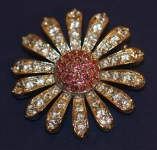 Swarovski Crystal 1.5 Inch Rhodium Plated Pink Pave Daisy Flower Pin Brooch Box