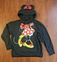 Disney Parks Minnie Mouse Bow Ears Hoodie Pullover Sweater Women's Sz XXL Black