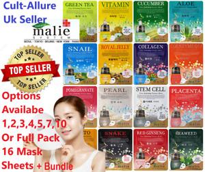 Malie Korean Face Mask Sheet Pack Facial Skin Care Moisture Essence UK Seller