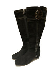 TORY BURCH Tall Knee-High Black Suede Logo Heel Full Side Zip Boots - Size 7.5