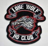 LONE WOLF NO CLUB 4'  SEW IRON ON  PATCH BADGE APPLIQUE FOR MOTORCYCLE JACKET
