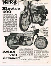1963 Norton Atlas 750 Electra 400 Motorcycle Vintage Ad