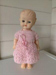 Vintage PEDIGREE Doll Kewpie Doll  Pink Knitted Dress Rubber 23cm